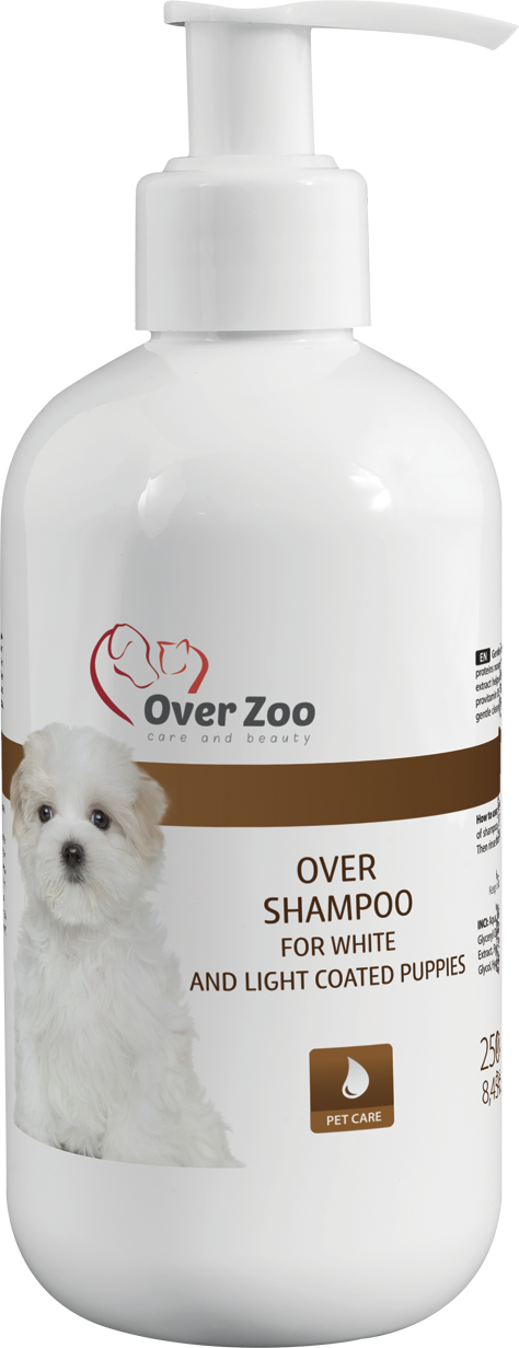 """ Over shampoo for white and light coated puppies"""